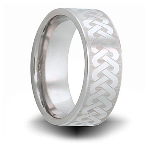 Woven Pattern Titanium 8mm Pipe Cut Ring