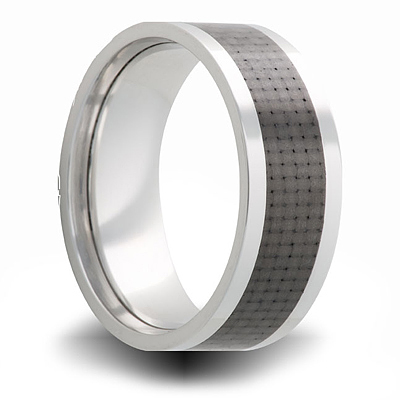 Cobalt 8mm Flat Ring with Carbon Fiber Inlay