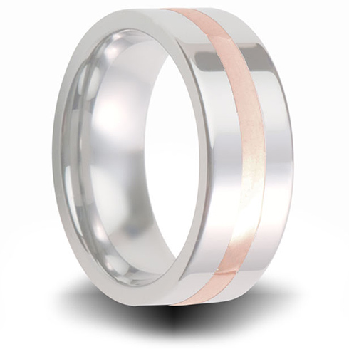 Cobalt 8mm Pipe Cut Ring with 14kt Rose Gold Inlay