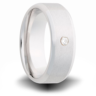 Cobalt 8mm Brushed Ring with Diamond Accent