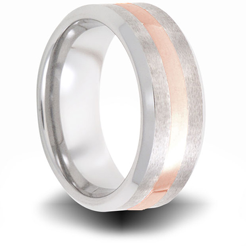 Cobalt 8mm Brushed Pipe Cut Ring with 14kt Rose Gold Inlay