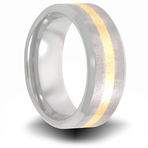 Cobalt 8mm Brushed Pipe Cut Ring with 14kt Yellow Gold Inlay