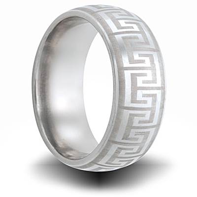 Greek Key Titanium 8mm Band with Domed Center