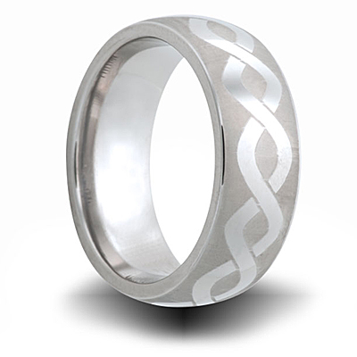 Helix Pattern Cobalt 8mm Domed Ring