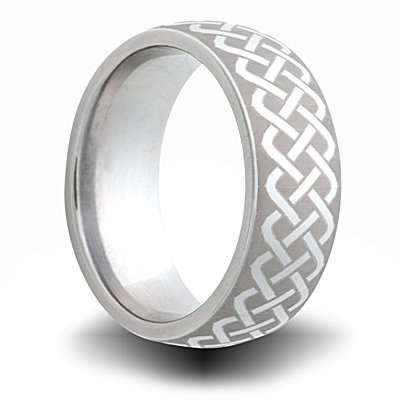 Cobalt 8mm Domed Ring with Woven Knot Pattern