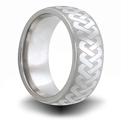 Celtic Knot Titanium 8mm Band with Domed Center