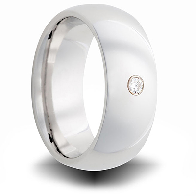 Cobalt 8mm Domed Ring with Diamond Accent