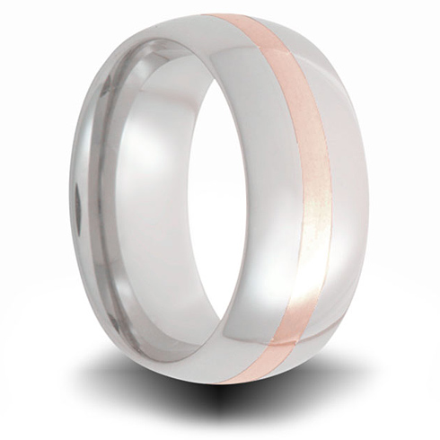 Cobalt 8mm Domed Ring with 14kt Rose Gold Inlay