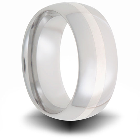 Cobalt 8mm Domed Ring with Sterling Silver Inlay