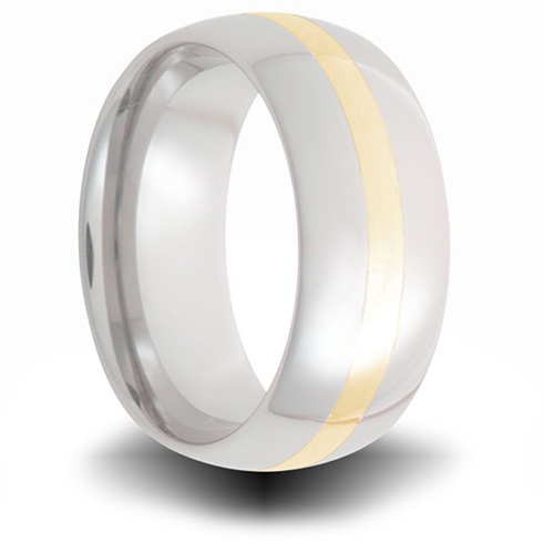 Cobalt 8mm Domed Ring with 14kt Yellow Gold Inlay