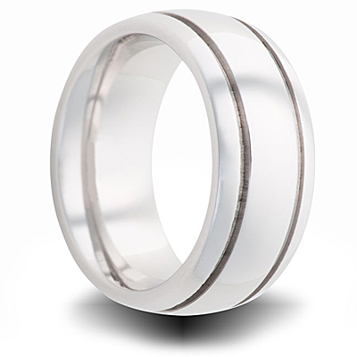 Cobalt 8mm Polished Domed Band with Grooves