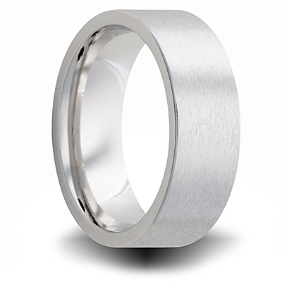 Cobalt 8mm Brushed Pipe Cut Wedding Band