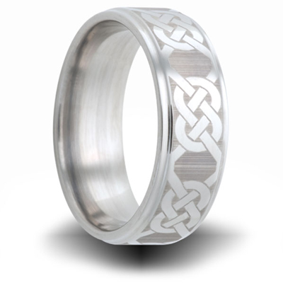 Cobalt 8mm Ring with Knot Pattern and Step Down Edges