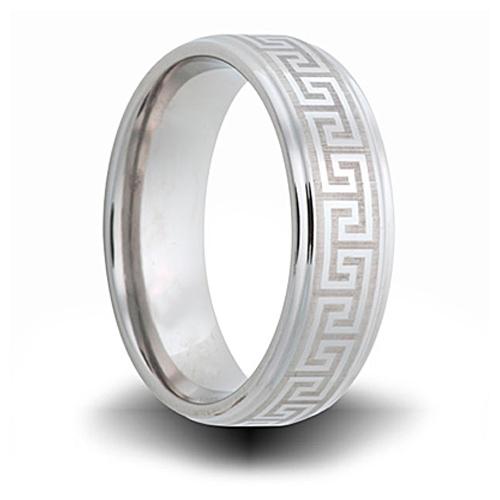 Greek Pattern Cobalt 8mm Step Down Edge Ring