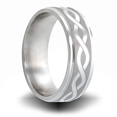 Infinity Pattern Cobalt Ring with Step Down Edges 8mm