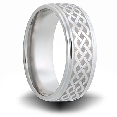 Weave Pattern Titanium 8mm Wedding Band with Rounded Edge