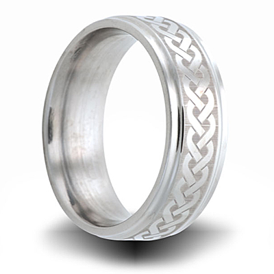 Cobalt 8mm Step Down Edge Ring with Weave Pattern
