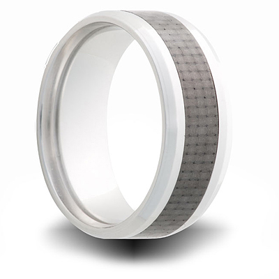 Cobalt 8mm Ring with Carbon Fiber Inlay and Beveled Edges
