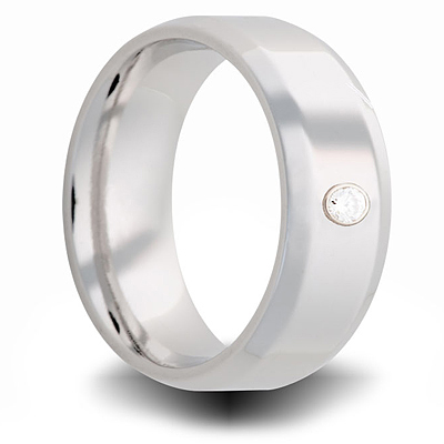 Cobalt 8mm Beveled Ring with Diamond Accent