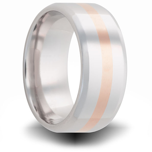 Cobalt 8mm Beveled Ring with 14kt Rose Gold Inlay