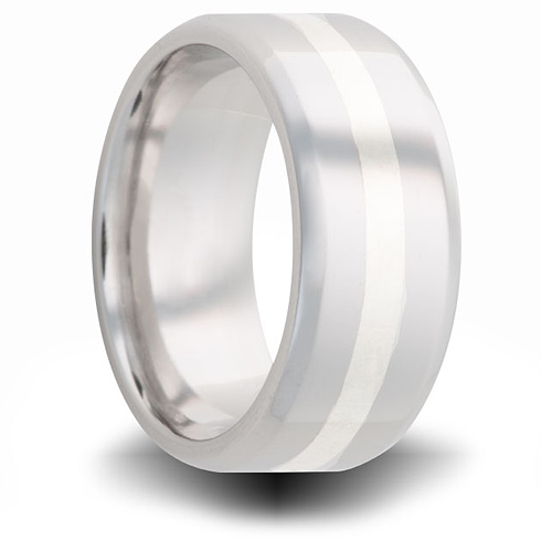Cobalt 8mm Pipe Cut Beveled Ring with Sterling Silver Inlay
