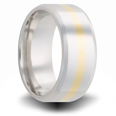 Cobalt 8mm Beveled Ring with 14kt Yellow Gold Inlay