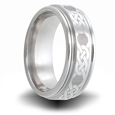 Knot Pattern Cobalt 8mm Step Down Edge Ring