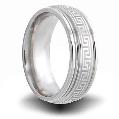 Greek Key Cobalt 8mm Grooved Edge Ring