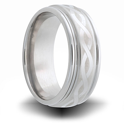 Celtic Knot Titanium 8mm Band with Grooved Edge