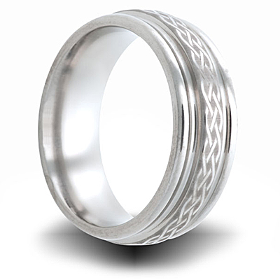 Weave Pattern Titanium 8mm Wedding Band with Grooved Edge