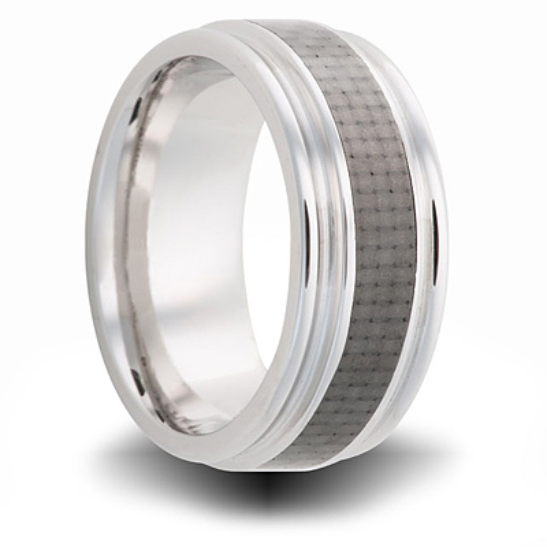 8mm Cobalt Ring with Carbon Fiber Inlay