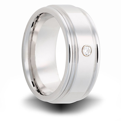 Cobalt 8mm Grooved Ring with Diamond Accent