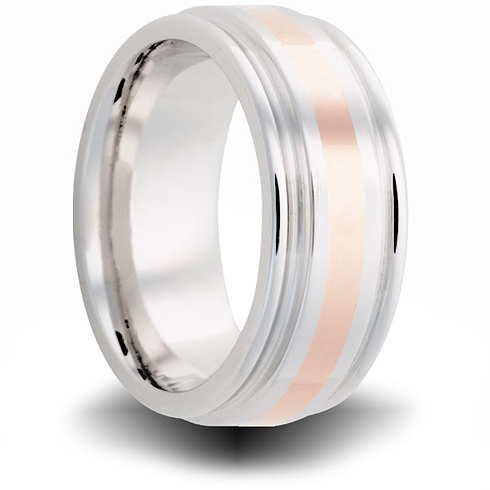 Cobalt 8mm Grooved Ring with 14kt Rose Gold Inlay
