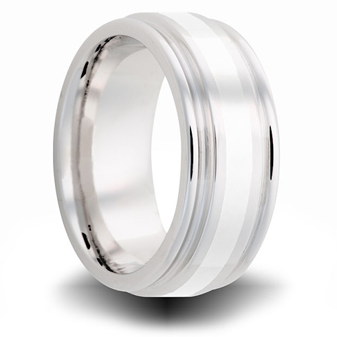 Cobalt 8mm Grooved Ring with Sterling Silver Inlay