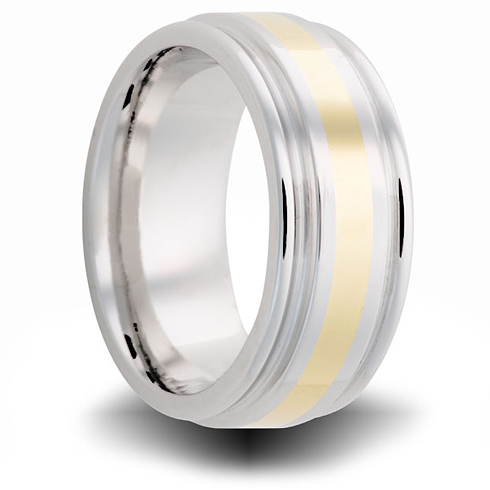 Cobalt 8mm Grooved Ring with 14kt Yellow Gold Inlay