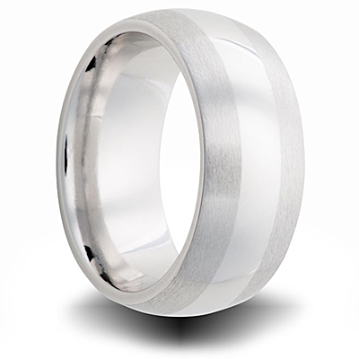 Cobalt 8mm Dual Finish Domed Band