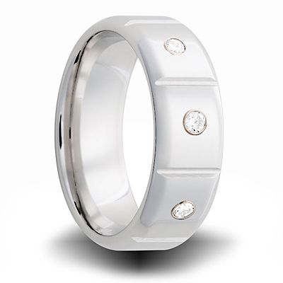 Cobalt 8mm Ring with 3 Diamond Accents and Panels