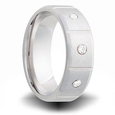 Cobalt 8mm Brushed Ring with 3 Diamond Accents and Panels