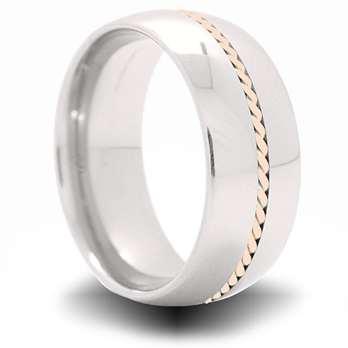 Cobalt 8mm Domed Ring with 14kt Rose Gold Braided Inlay