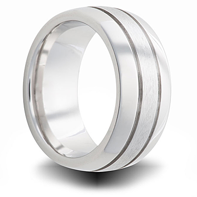 Cobalt 8mm Dual Finish Domed Band with Grooves