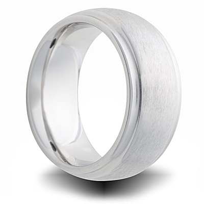Cobalt 8mm Brushed Domed Band with Grooves
