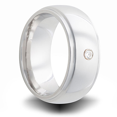 Cobalt 8mm Step Down Ring with Diamond Accent