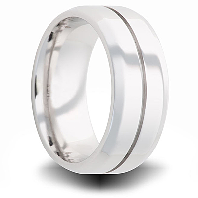 Cobalt 8mm Polished Pipe Cut Wedding Band with Groove