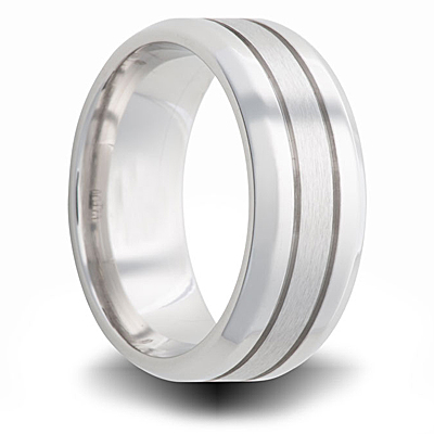 Cobalt 8mm Dual Finish Wedding Band with Grooves
