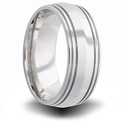 Cobalt 8mm Polished Tapered Band with Grooves