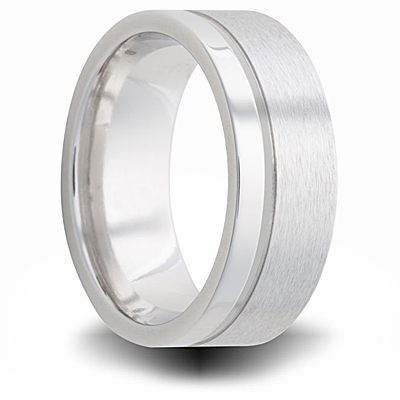 Cobalt 8mm Dual Finish Wedding Band with Offset Groove