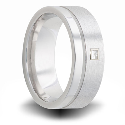 Cobalt 8mm Dual Finish Ring with Square Diamond Accent