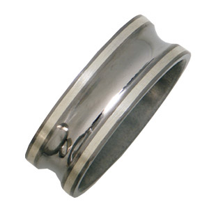 Titanium 8mm Satin Concave Wedding Band with Sterling Silver Inlays