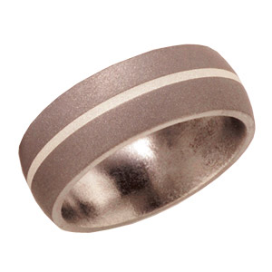 Titanium 8mm Wedding Band Sandblast with Sterling Silver Inlay