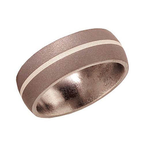 Titanium 8mm Wedding Band Sandblast with Sterling Silver Inlay